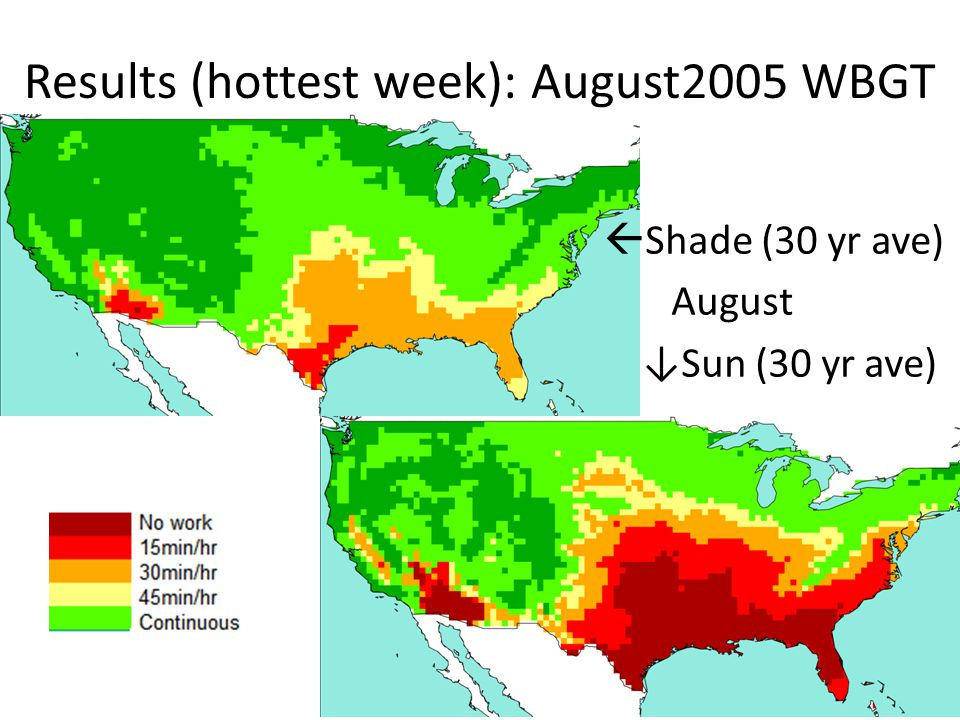 Results (hottest week): August2005 WBGT Shade (30 yr ave) August Sun (30 yr ave)