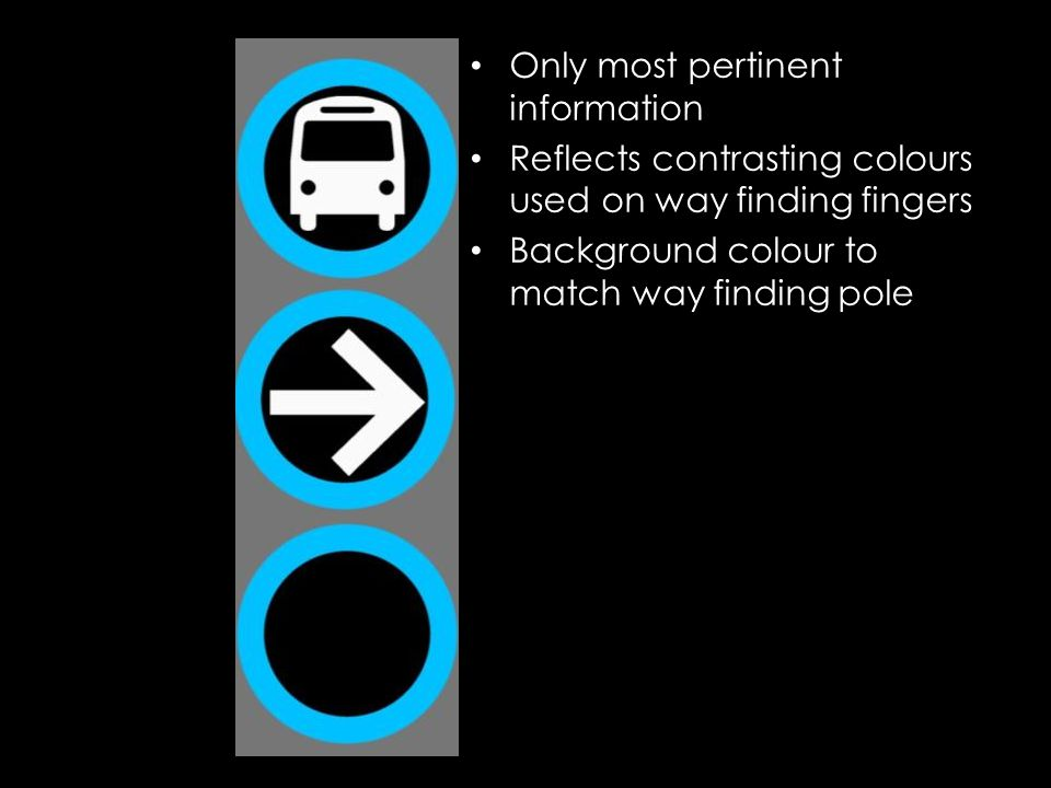 Only most pertinent information Reflects contrasting colours used on way finding fingers Background colour to match way finding pole
