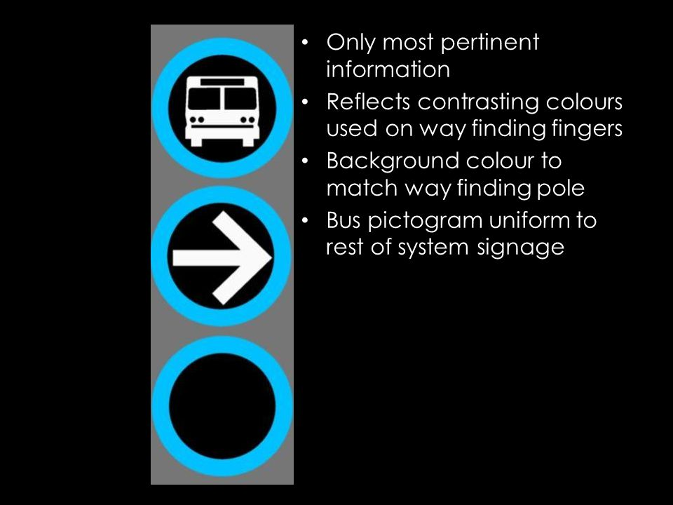 Only most pertinent information Reflects contrasting colours used on way finding fingers Background colour to match way finding pole Bus pictogram uni