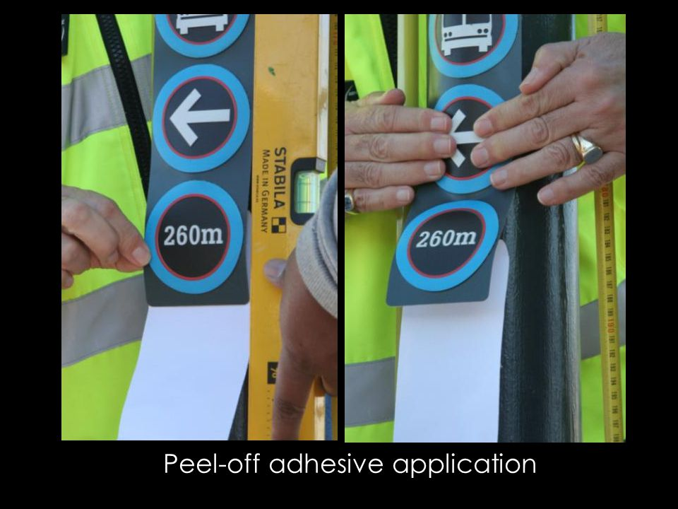 Peel-off adhesive application
