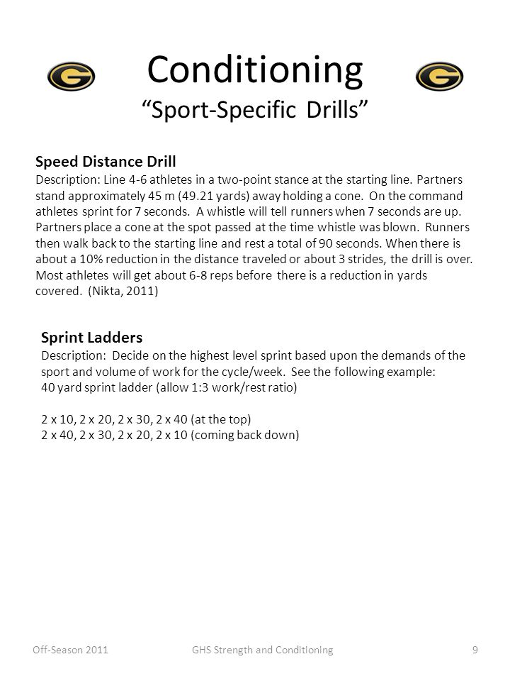 Conditioning Sport-Specific Drills Speed Distance Drill Description: Line 4-6 athletes in a two-point stance at the starting line. Partners stand appr