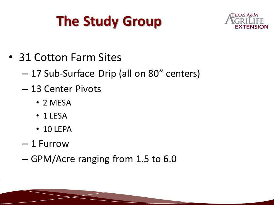 31 Cotton Farm Sites – 17 Sub-Surface Drip (all on 80 centers) – 13 Center Pivots 2 MESA 1 LESA 10 LEPA – 1 Furrow – GPM/Acre ranging from 1.5 to 6.0