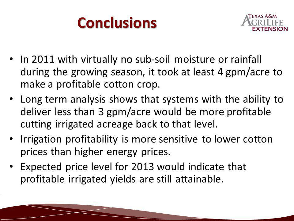 In 2011 with virtually no sub-soil moisture or rainfall during the growing season, it took at least 4 gpm/acre to make a profitable cotton crop. Long