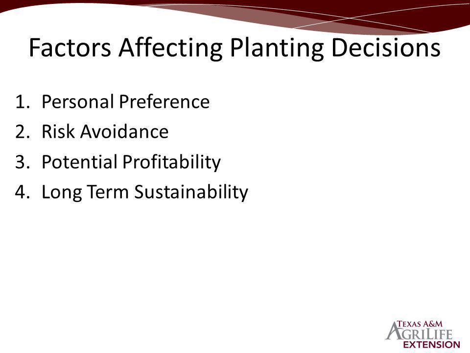 1.Personal Preference 2.Risk Avoidance 3.Potential Profitability 4.Long Term Sustainability Factors Affecting Planting Decisions