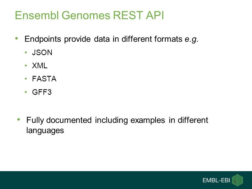 Resources http://beta.rest.ensemblgenomes.org http://bacteria.ensembl.org/info/docs/api/index.html http://bacteria.ensembl.org/info/data/accessing_ensembl _bacteria.html http://bacteria.ensembl.org/info/data/accessing_ensembl _bacteria.html dev@ensembl.org mailing list dev@ensembl.org