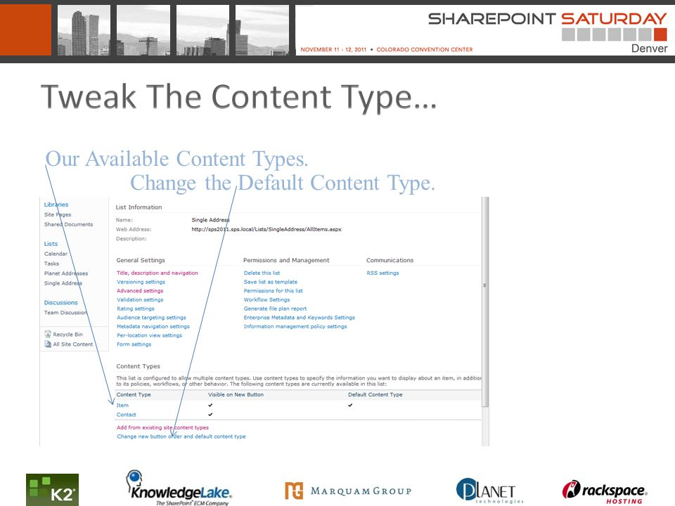Our Available Content Types. Change the Default Content Type.