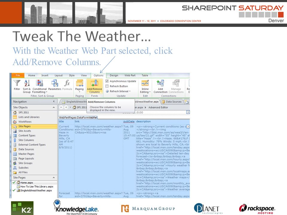 With the Weather Web Part selected, click Add/Remove Columns.