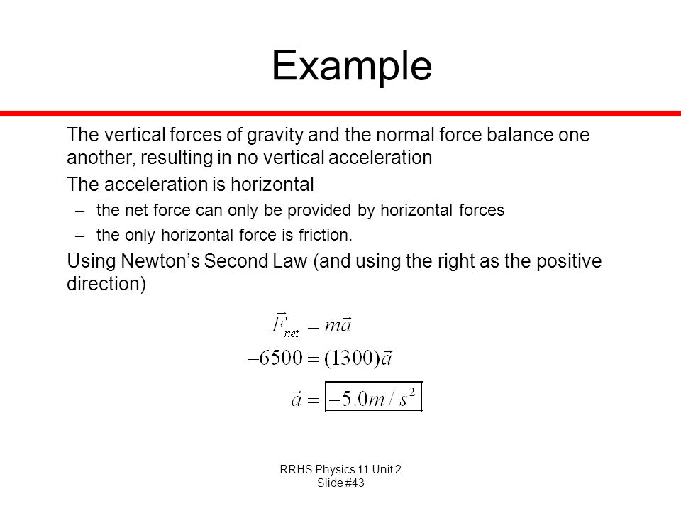 RRHS Physics 11 Unit 2 Slide #43 Example The vertical forces of gravity and the normal force balance one another, resulting in no vertical acceleratio