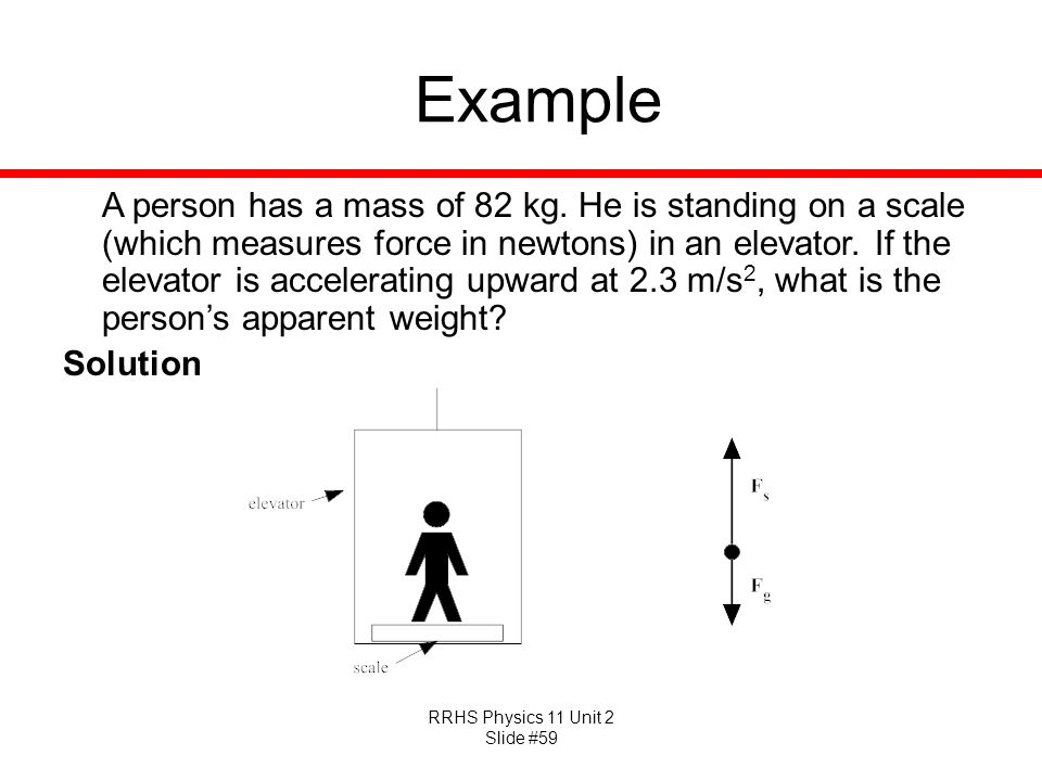 RRHS Physics 11 Unit 2 Slide #59 Example A person has a mass of 82 kg. He is standing on a scale (which measures force in newtons) in an elevator. If