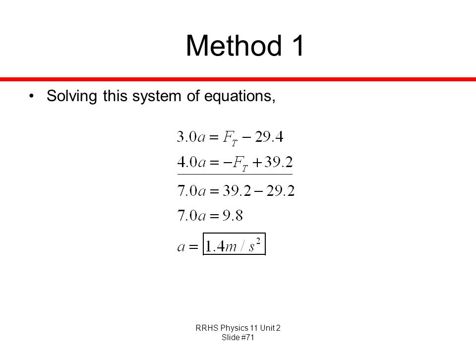 RRHS Physics 11 Unit 2 Slide #71 Method 1 Solving this system of equations,