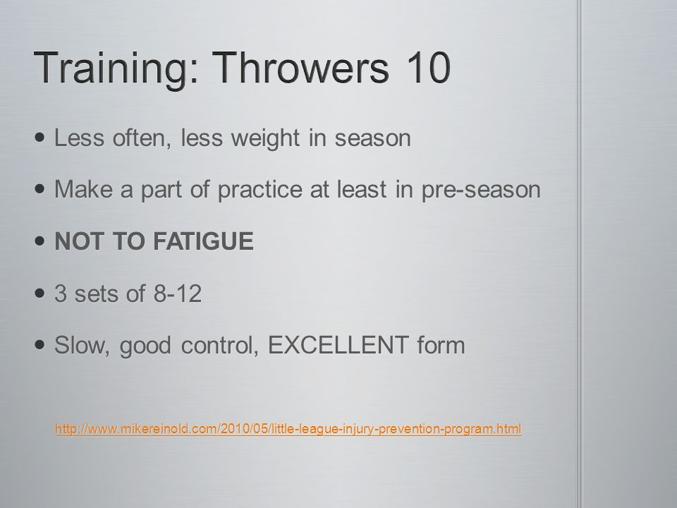Less often, less weight in season Less often, less weight in season Make a part of practice at least in pre-season Make a part of practice at least in