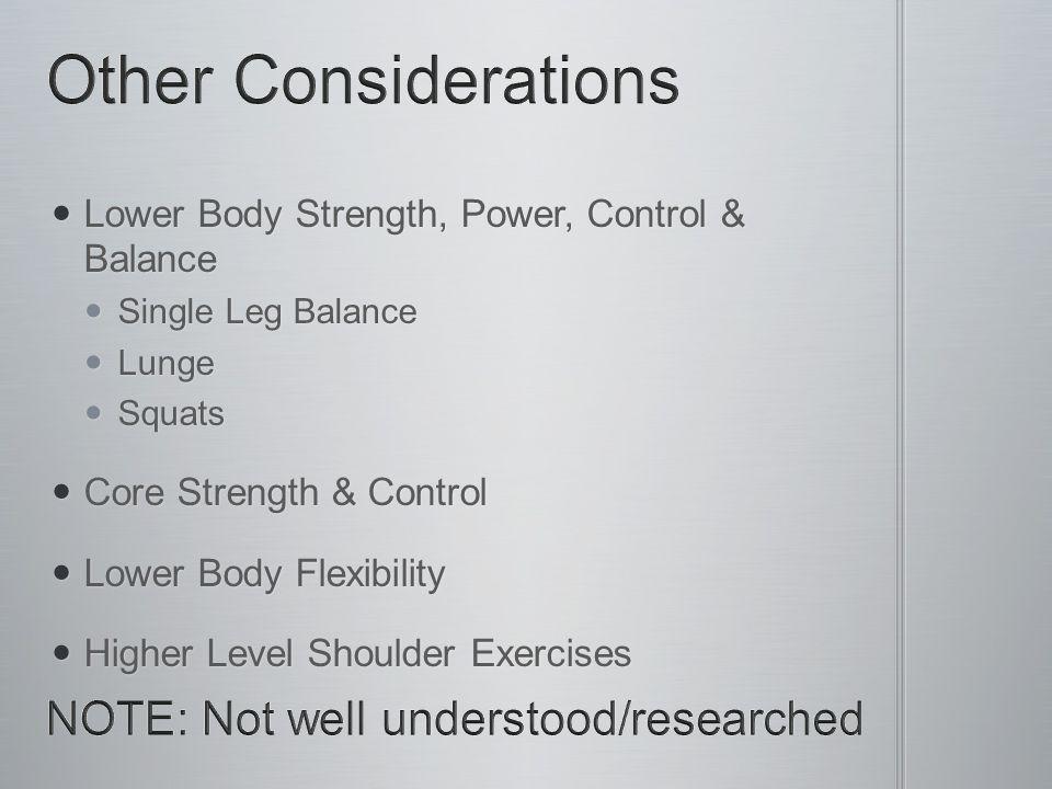 Lower Body Strength, Power, Control & Balance Lower Body Strength, Power, Control & Balance Single Leg Balance Single Leg Balance Lunge Lunge Squats S
