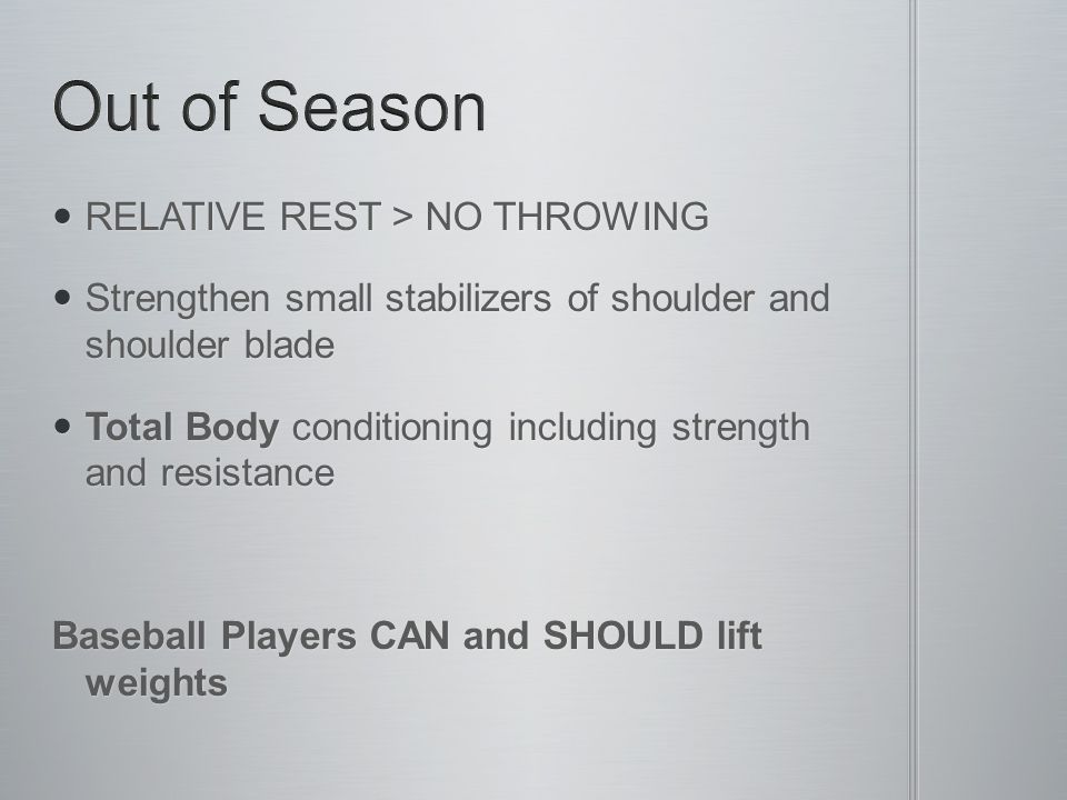 RELATIVE REST > NO THROWING RELATIVE REST > NO THROWING Strengthen small stabilizers of shoulder and shoulder blade Strengthen small stabilizers of sh