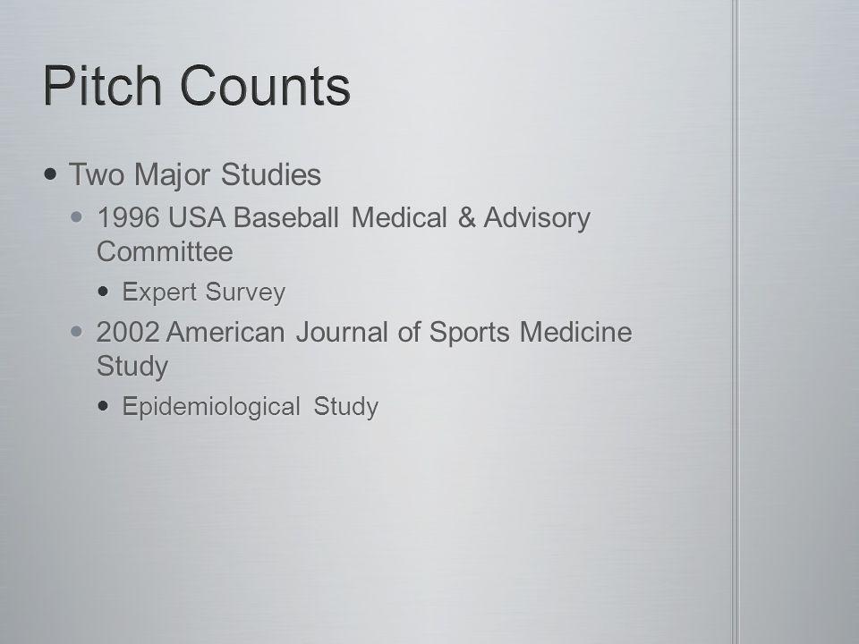 Two Major Studies Two Major Studies 1996 USA Baseball Medical & Advisory Committee 1996 USA Baseball Medical & Advisory Committee Expert Survey Expert