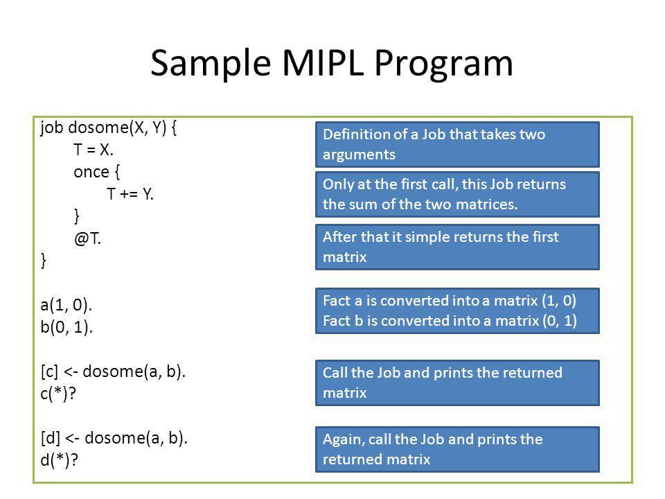 Sample MIPL Program job dosome(X, Y) { T = X. once { T += Y.