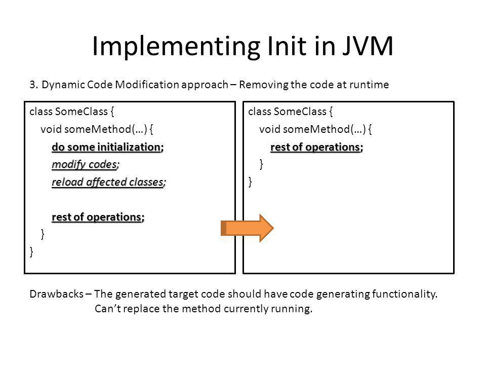 Implementing Init in JVM class SomeClass { void someMethod(…) { do some initialization; do some initialization; modify codes; modify codes; reload affected classes; reload affected classes; rest of operations; rest of operations; } 3.