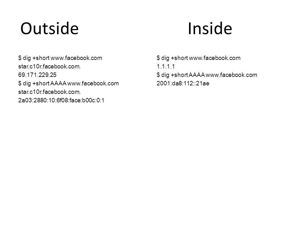 Outside Inside $ dig +short www.facebook.com star.c10r.facebook.com. 69.171.229.25 $ dig +short AAAA www.facebook.com star.c10r.facebook.com. 2a03:288