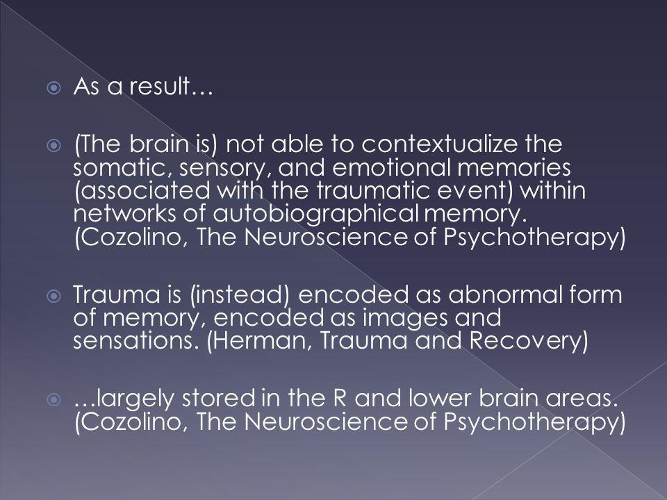 As a result… (The brain is) not able to contextualize the somatic, sensory, and emotional memories (associated with the traumatic event) within networ