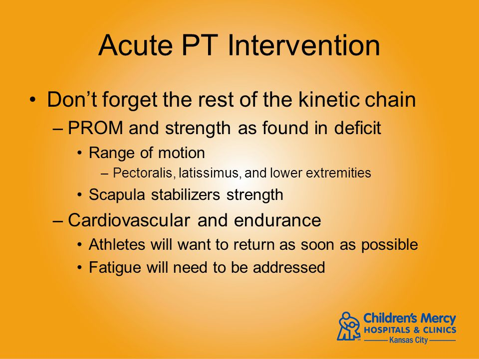 Acute PT Intervention Dont forget the rest of the kinetic chain –PROM and strength as found in deficit Range of motion –Pectoralis, latissimus, and lo
