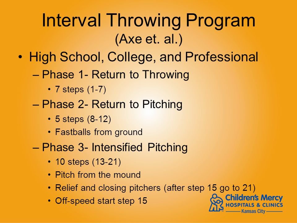 Interval Throwing Program (Axe et. al.) High School, College, and Professional –Phase 1- Return to Throwing 7 steps (1-7) –Phase 2- Return to Pitching