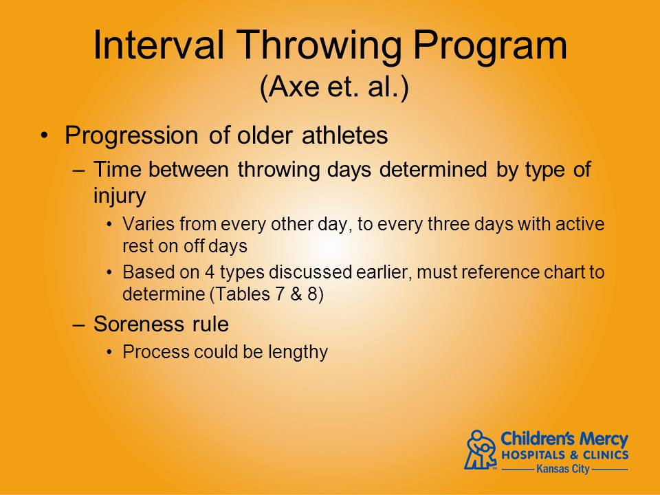 Interval Throwing Program (Axe et. al.) Progression of older athletes –Time between throwing days determined by type of injury Varies from every other