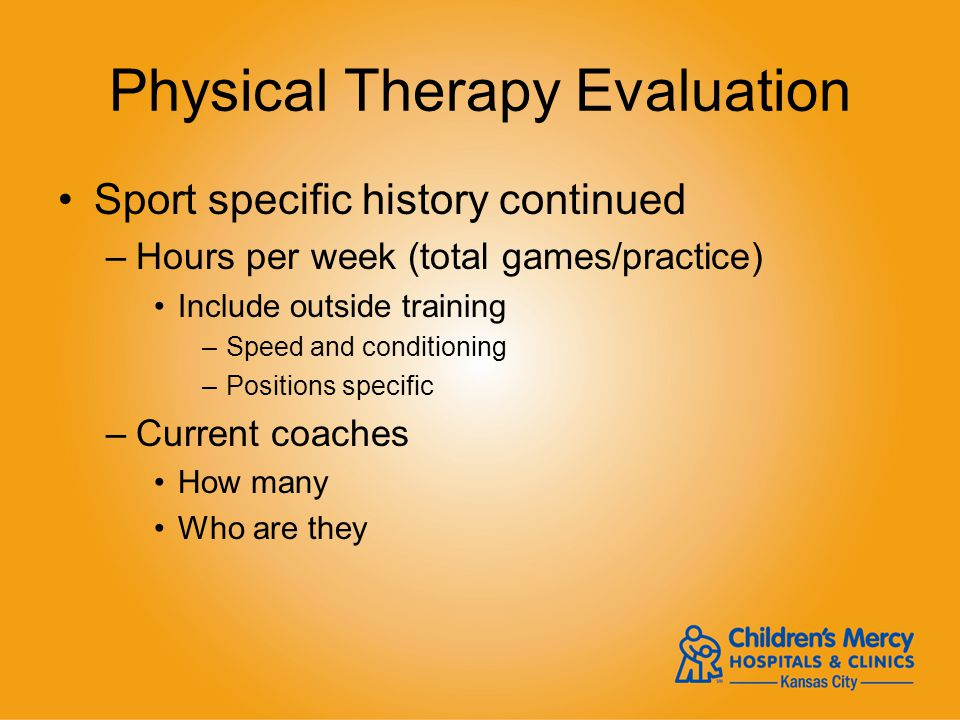 Sport Specific Return to Play Return to limited play during practice –Respect fatigue and loss of eccentric control –Limit specific training drills per sport –Modify position to limit distance and number of throws –Know the sport, if you dont educate yourself Pitch counts, types, and required rest Interval Throwing Programs