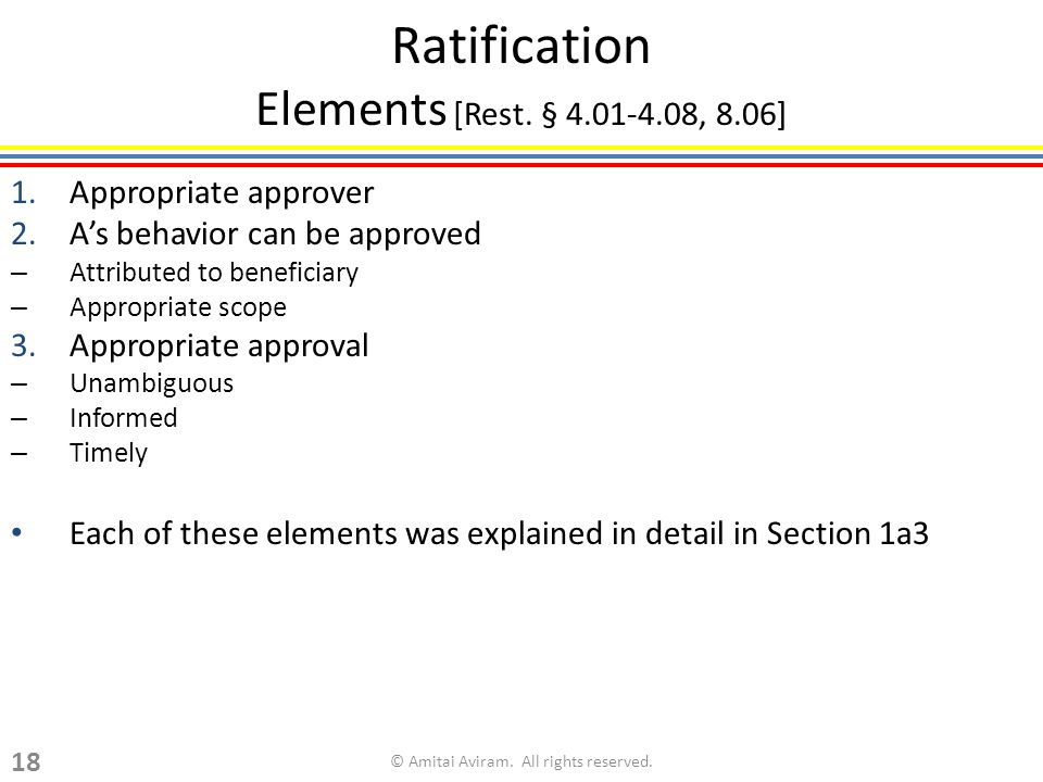 Ratification Elements [Rest.