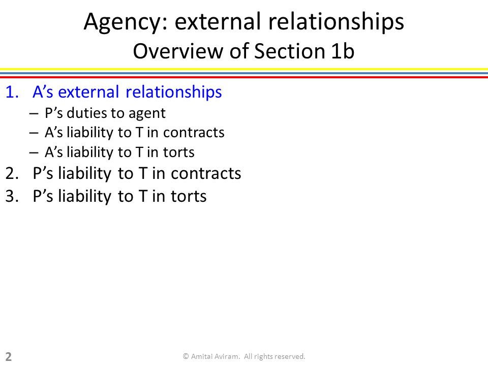Agency: external relationships Overview of Section 1b 1.As external relationships – Ps duties to agent – As liability to T in contracts – As liability