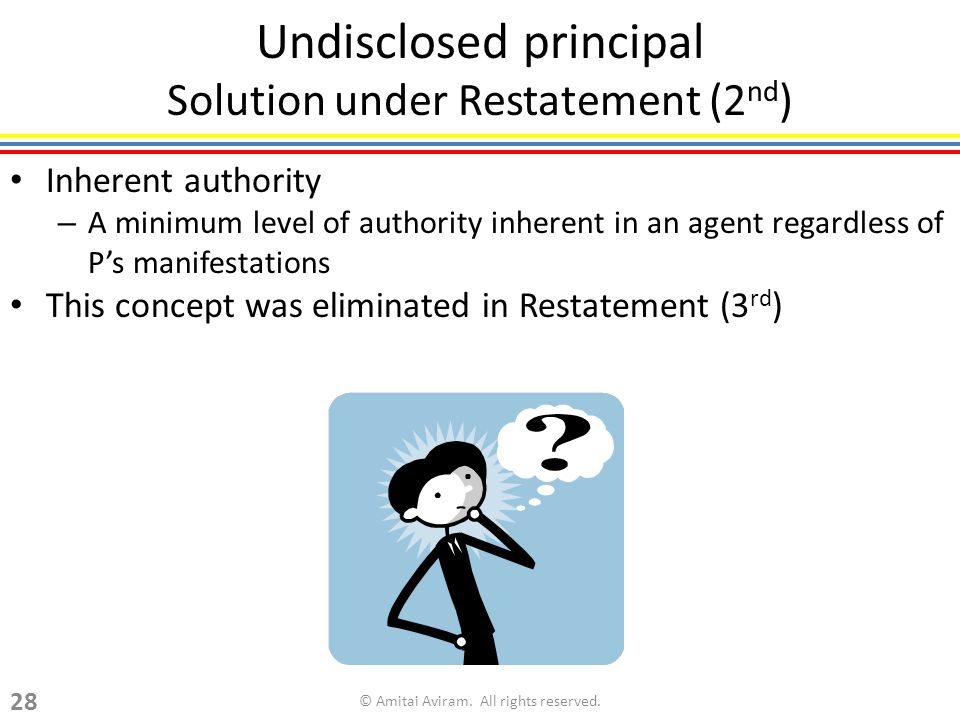 Undisclosed principal Solution under Restatement (2 nd ) Inherent authority – A minimum level of authority inherent in an agent regardless of Ps manif