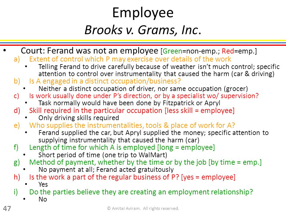 Employee Brooks v. Grams, Inc.