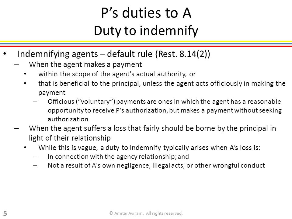 Ps duties to A Duty to indemnify Indemnifying agents – default rule (Rest.