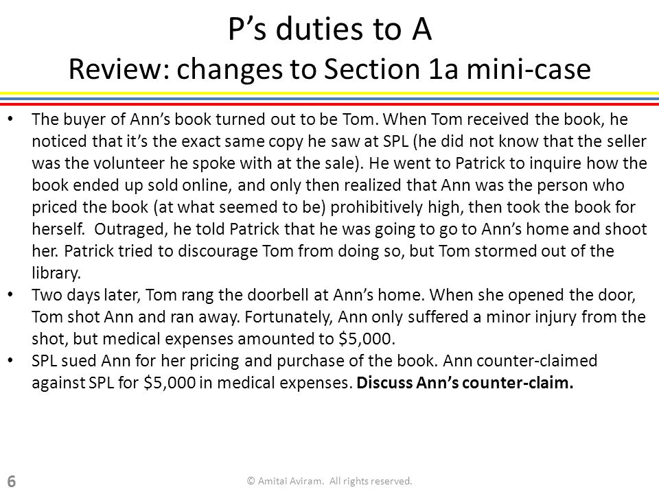 Ps duties to A Review: changes to Section 1a mini-case The buyer of Anns book turned out to be Tom.