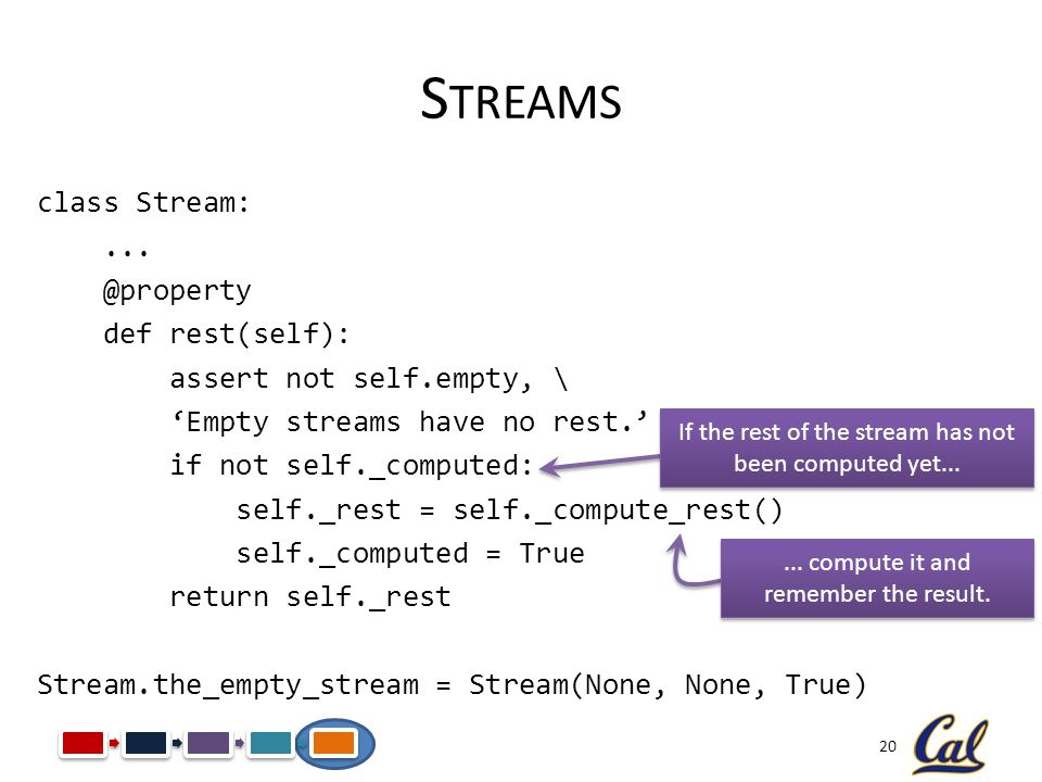 20 S TREAMS class Stream:... @property def rest(self): assert not self.empty, \ Empty streams have no rest. if not self._computed: self._rest = self._