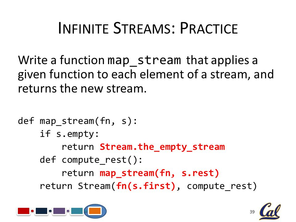 39 I NFINITE S TREAMS : P RACTICE Write a function map_stream that applies a given function to each element of a stream, and returns the new stream. d