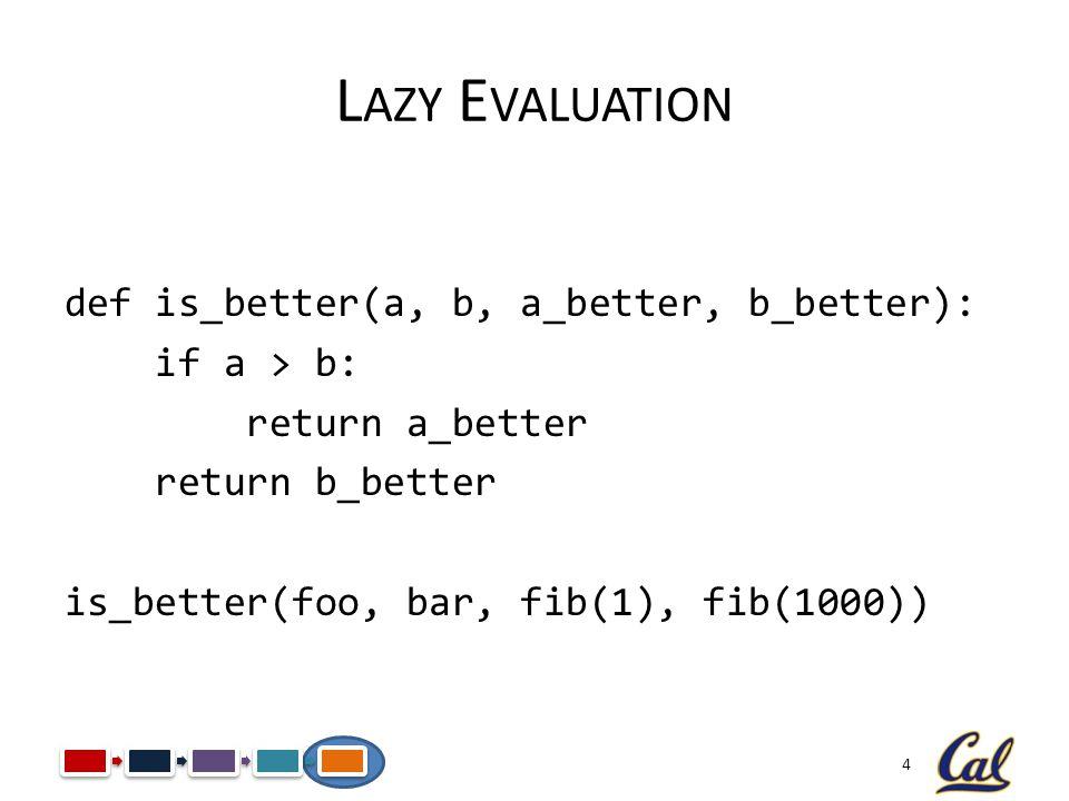4 L AZY E VALUATION def is_better(a, b, a_better, b_better): if a > b: return a_better return b_better is_better(foo, bar, fib(1), fib(1000))