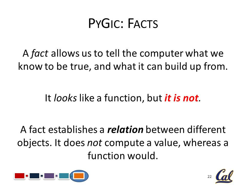 22 P Y G IC : F ACTS A fact allows us to tell the computer what we know to be true, and what it can build up from. It looks like a function, but it is