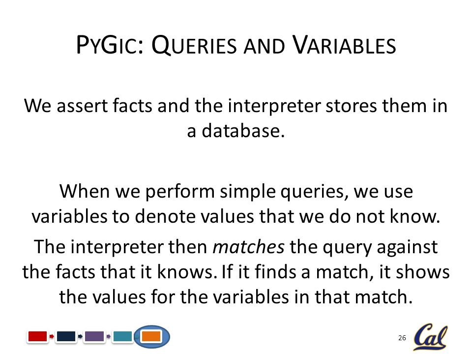 26 P Y G IC : Q UERIES AND V ARIABLES We assert facts and the interpreter stores them in a database. When we perform simple queries, we use variables