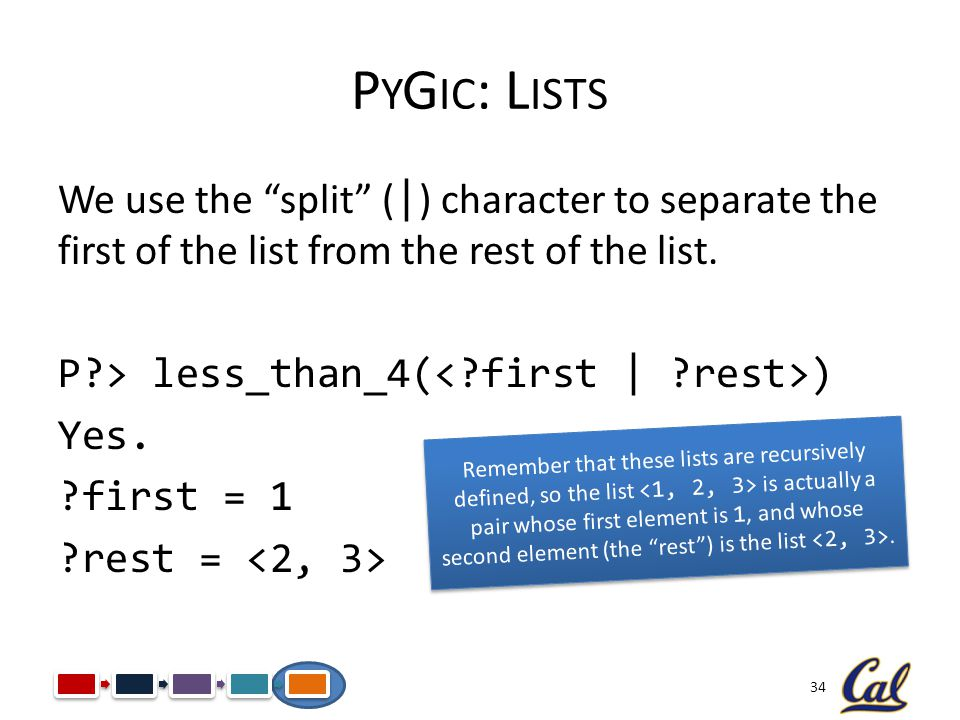 34 P Y G IC : L ISTS We use the split ( | ) character to separate the first of the list from the rest of the list. P?> less_than_4( ) Yes. ?first = 1