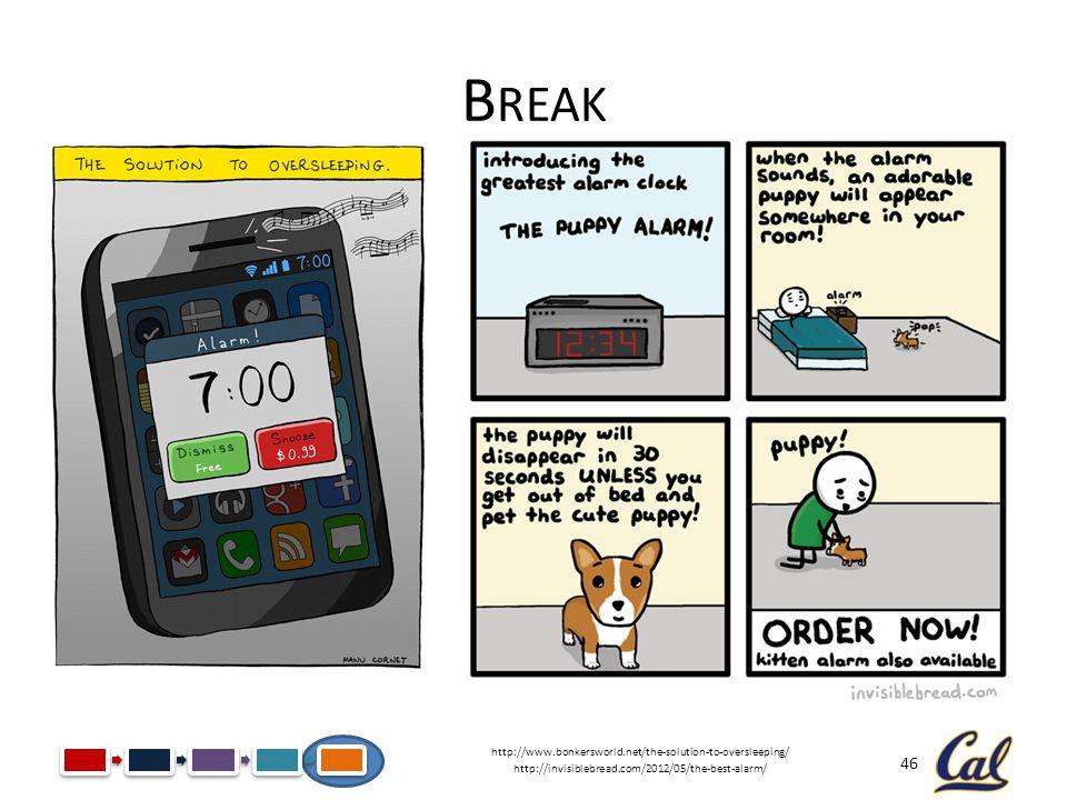46 B REAK http://www.bonkersworld.net/the-solution-to-oversleeping/ http://invisiblebread.com/2012/05/the-best-alarm/