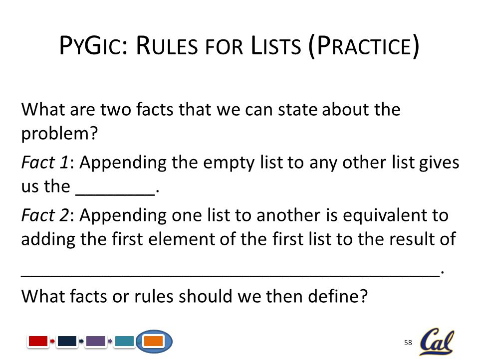 58 P Y G IC : R ULES FOR L ISTS (P RACTICE ) What are two facts that we can state about the problem? Fact 1: Appending the empty list to any other lis
