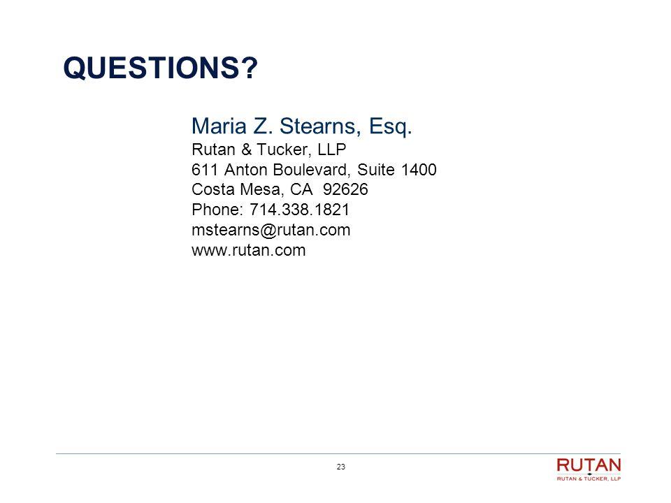23 QUESTIONS. Maria Z. Stearns, Esq.