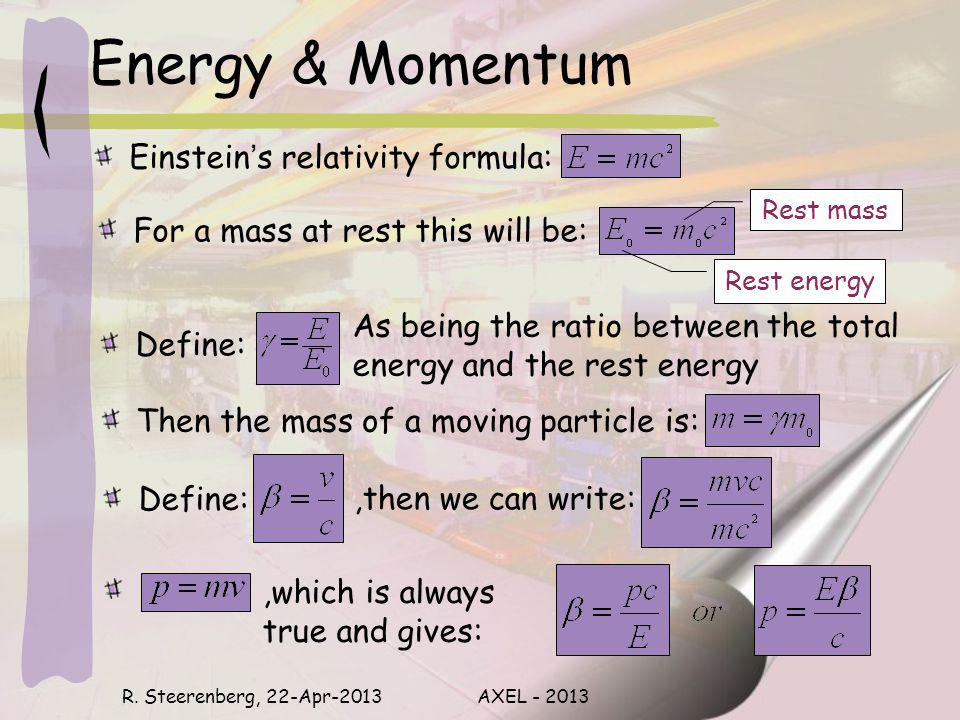 Energy & Momentum Einsteins relativity formula: R. Steerenberg, 22-Apr-2013AXEL - 2013 Rest mass Rest energy For a mass at rest this will be: As being