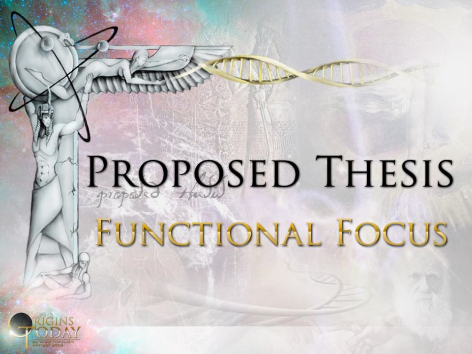 In the ancient functional focus, existence is defined by having a function (role and purpose in ordered system), not by having a material structure In the ancient functional focus, existence is defined by having a function (role and purpose in ordered system), not by having a material structure Genesis 1: provides an account of functional origins, not material origins Genesis 1: provides an account of functional origins, not material origins Genesis 1: about God bringing order (functionality) into the midst of non-order (non-functionality) Genesis 1: about God bringing order (functionality) into the midst of non-order (non-functionality)