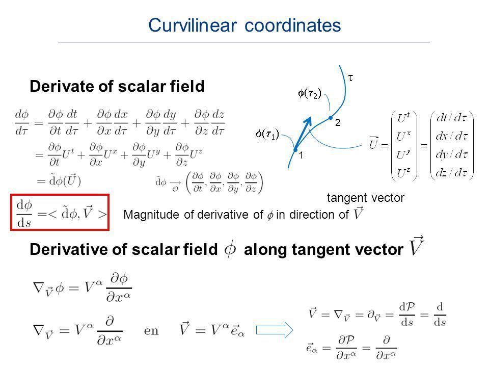 Derivate of scalar field tangent vector 1 2 Magnitude of derivative of in direction of Derivative of scalar field along tangent vector Curvilinear coo