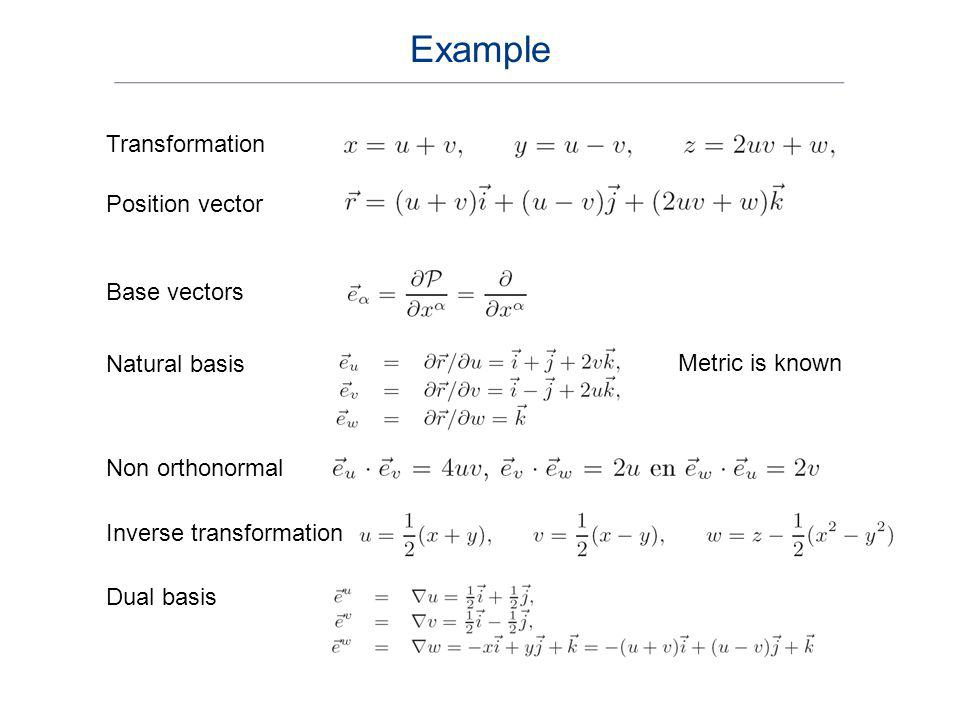 Position vector Natural basis Non orthonormal Base vectors Metric is known Inverse transformation Dual basis Transformation Example