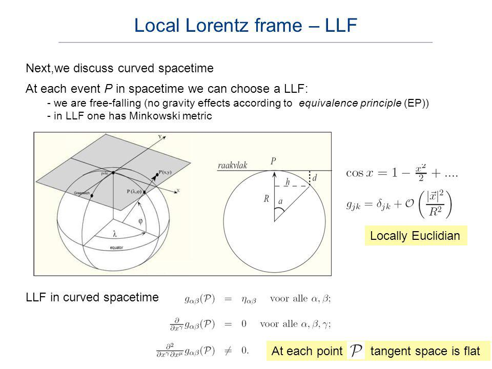 Next,we discuss curved spacetime At each event P in spacetime we can choose a LLF: - we are free-falling (no gravity effects according to equivalence