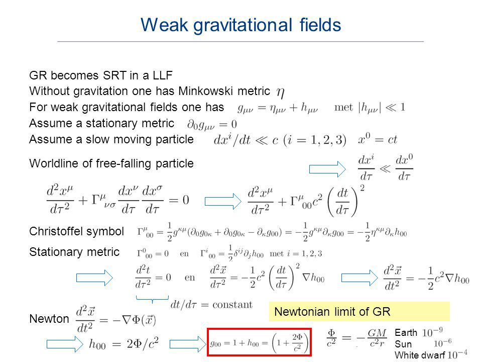GR becomes SRT in a LLF Without gravitation one has Minkowski metric For weak gravitational fields one has Assume a stationary metric Assume a slow mo