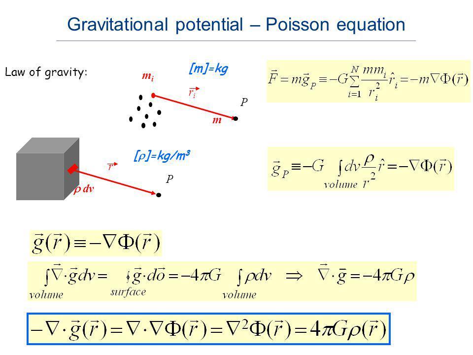mimi riri [m]=kg P Law of gravity: m r dv [ ]=kg/m 3 P Gravitational potential – Poisson equation