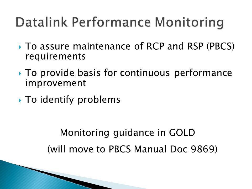 To assure maintenance of RCP and RSP (PBCS) requirements To provide basis for continuous performance improvement To identify problems Monitoring guidance in GOLD (will move to PBCS Manual Doc 9869)