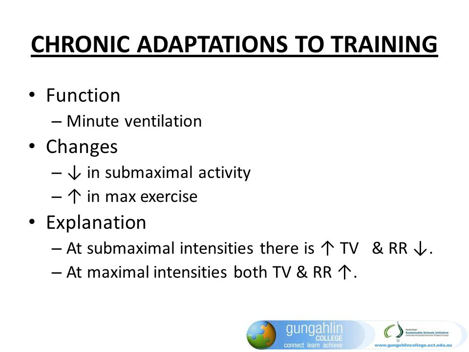 CHRONIC ADAPTATIONS TO TRAINING Function – Minute ventilation Changes – in submaximal activity – in max exercise Explanation – At submaximal intensiti